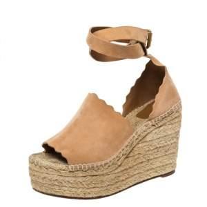Chloe Beige Suede Scalloped Trim Lauren Ankle Wrap Espadrille Platform Wedge Sandals Size 38