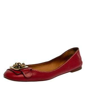 Chloe Red Leather Ballet Flats Size 39