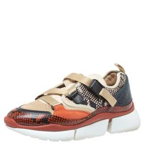 Chloe Multicolor Embossed Snakeskin, Mesh And Suede Sonnie Low Top Sneakers Size 38
