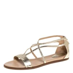 Chloe Gold Python Embossed Leather Strappy Ankle Zipper Flats Size 40