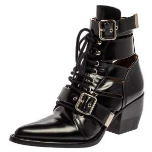 Chloe Black Leather Rylee Pointed Toe Boots Size 38