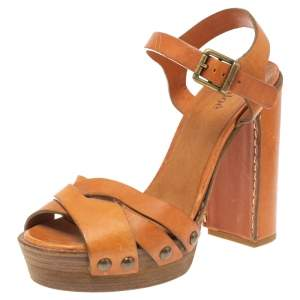 Chloe Brown Leather Platform Ankle Strap Sandals Size 38.5