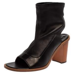 Chloe Black Leather Open Toe Block Heel Ankle Length Sandals Size 39