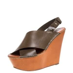 Chloe Olive Green Leather Wedge Platform Sandals Size 39