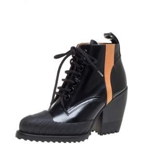 حذاء بوت كاحل كلوي أربطة غطاء مقدمة مططاط ريلي جلد أسود مقاس 36