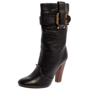 Chloe Black Leather Mid-Calf Buckle Boots Size 38