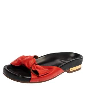 Chloe Red Leather Emily Knotted Bow Detail Slide Flats Size 39