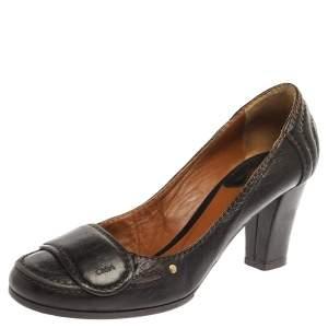Chloe Brown Leather Round Toe Block Heel Pumps Size 37