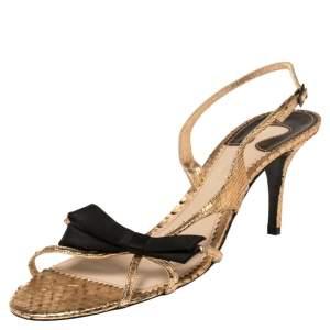 Chloe Rose Gold Snakeskin Slingback Sandals Size 41