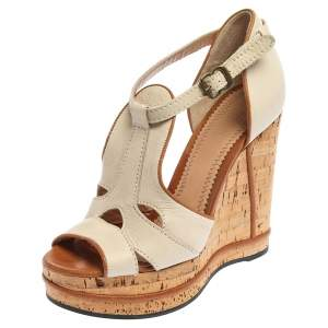 Chloe Off White Leather Shirley Cork Wedge Sandals Size 36.5