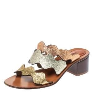 Chloe Multicolor Leather Lauren Slide Sandals Size 36