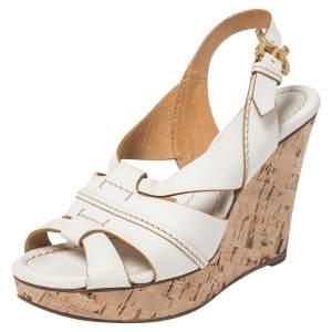 Chloe White Leather Cork Wedge Platform Slingback Sandals Size 36.5
