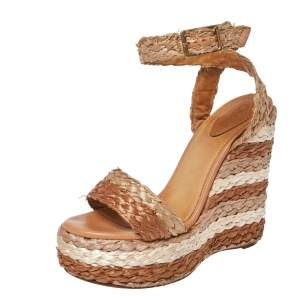 Chloe Tri Color Raffia Woven Wedge Ankle Strap Sandals Size 36.5