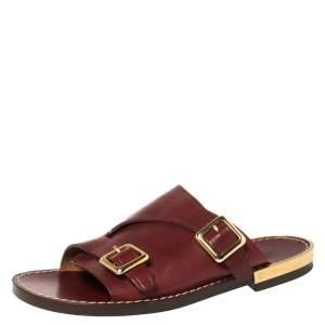 Chloe Burgundy Leather Buckle Detail Flat Sandals Size 37.5
