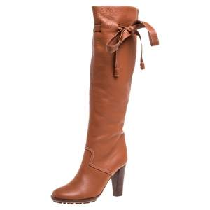 Chloe Tan Leather Knee Tie High Boots Size 37.5