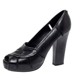 Chloe Black Leather Block Heel Peep Toe Platform Pumps Size 38.5