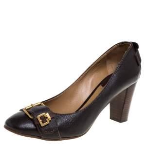 Chloe Brown Leather  Buckle Detail Round Toe Block Heel Pumps Size 39