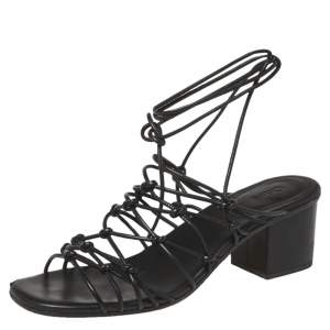 Chloe Black Leather Jamie Knot Ankle Wrap Sandals Size 39