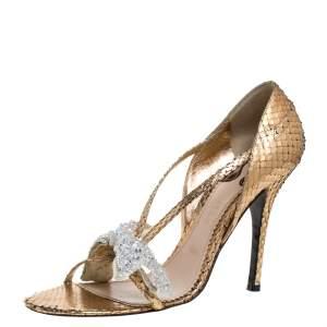 Chloe Metallic Gold Python Leather Embellished Bow Sandals Size 39.5