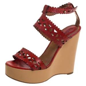Chloe Red Leather Laser Cut Wedge Sandals Size 37.5