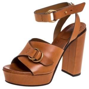 Chloe Tan Leather Kingsley Platform Sandals Size 39