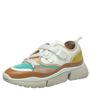 Chloe Multicolor Leather And Fabric Sonnie Low Top Sneakers Size 39