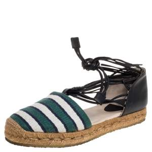 Chloe Multicolor Fabric and Leather Ankle Wrap Flat Espadrilles Size 36
