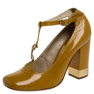 Chloe Yellow Leather T Strap Square Toe Pumps Size 37