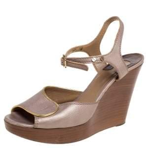 Chloe Metallic Peep Toe Ankle Strap Wooden Wedge Platform Sandals Size 37