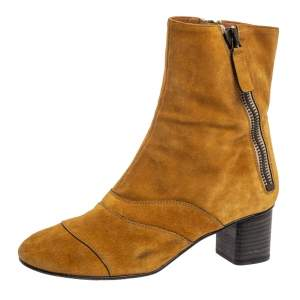 Chloe Butterscotch Yellow Suede Block Heel Ankle Boots Size 38.5
