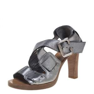 Chloe Metallic Grey Leather Crisscross Wooden Sandals Size 38