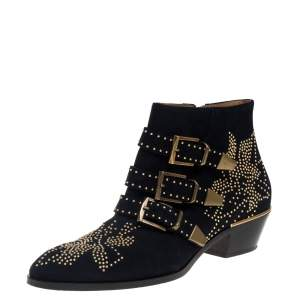 Chloe Navy Blue Suede Susanna Ankle Boots Size 39.5