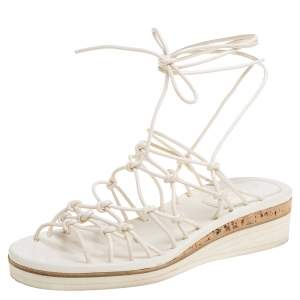 Chloe Cream Leather Knot Detail Strappy 'Jamie' Platform Wedge Sandals Size 36