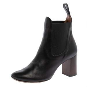 Chloe Black Leather Block Heel Ankle Boots Size 37