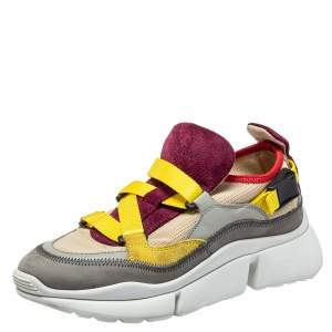 Chloe Multicolor Mesh And Suede Sonnie Sneakers Size 35
