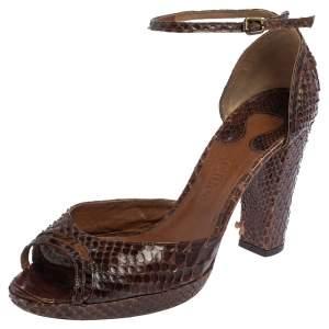 Chloe Brown Python Ankle Strap Sandals Size 40