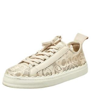 Chloe Light Beige Lace and Leather Lauren Sneakers Size 42