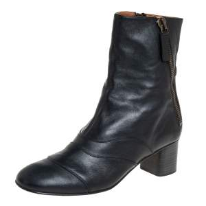 Chloe Black Leather Double Zipper Ankle Boots Size 41