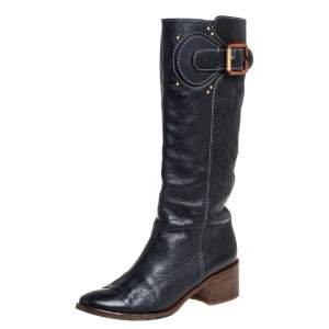 Chloe Black Leather Mid Calf Boots Size 40