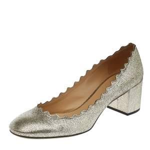 Chloe Gold Leather Lauren Scallop Trim Block Heel Pumps Size 37.5