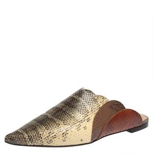 Chloe Multicolor Python Embossed Leather Mule Sandals  Size 39.5