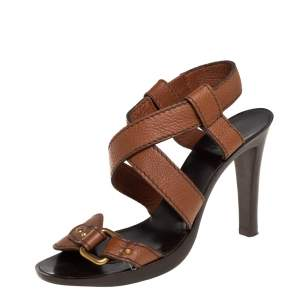 Chloé Brown Leather Ankle Strap Sandals Size 39.5