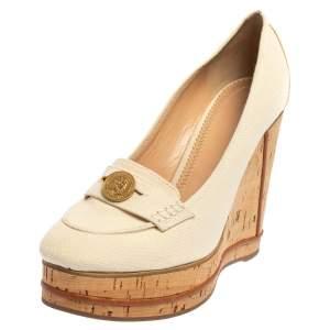 Chloé Off White Canvas Cork Wedge Platform Penny Loafer Pumps Size 41