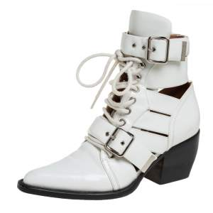 Chloe White Patent Leather Reilly Buckle Embellished Ankle Booties Size 37