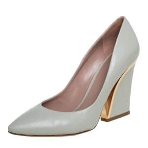 Chloe Grey Leather Block Heel Pumps Size 39.5