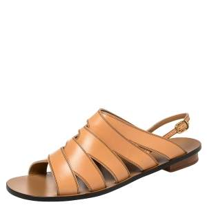 Chloe Brown Leather Strappy Slingback Flat Size 40