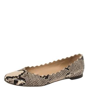 Chloe Black/Beige Python Embossed Leather Lauren Ballet Flats Size 39