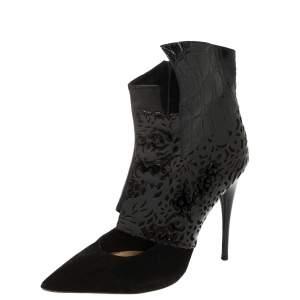 حذاء بوت كاحل كلوي مقدمة مدببة سويدي وجلد قصة ليزر أسود مقاس 38.5