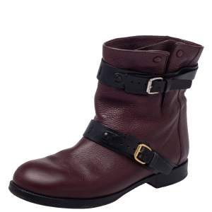 Chloe Burgundy Leather Ankle Buckle Boots Size 39