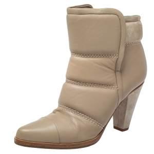 حذاء بوت للكاحل كلوي جلد مبطن بيج مقاس 38.5